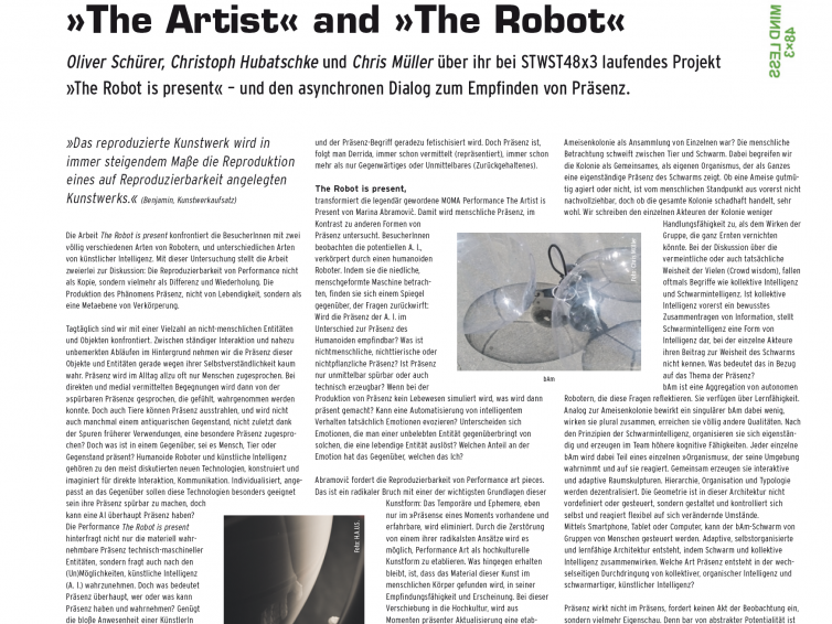 """Article on concept of performance """"The robot is present"""" at the Ars Electronica 2017. An article published in """"Versorgerin"""", the magazine of Stadtwerkstatt Linz."""