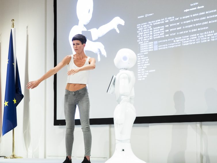"""Lecture-performance """"Doppelganger"""" cycle 2, at the conference """"Digitization of the work"""" at the Vienna International Center, by the Ministry of Social Affairs"""