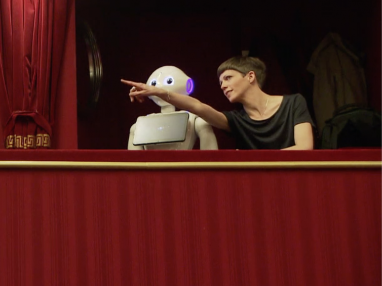 """Robot Machina and her friend Eva reminisce on visiting the windup doll """"Coppélia"""" at the Vienna Volksoper 5.2.19"""