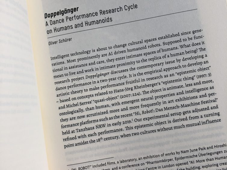 "Book publication ""Things that dance / Tanz der Dinge"",  a short version of the ""Doppelgänger performance cycle"" concept"